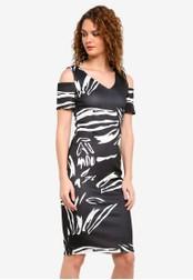Dorothy Perkins black Print Cold Shoulder Bodycon Dress DO816AA0RMYQMY_1
