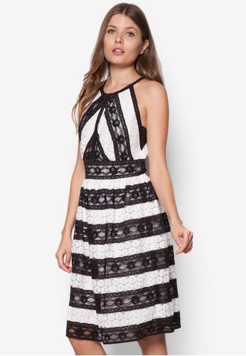 蕾絲zalora退貨拼接無袖洋裝, 服飾, 洋裝