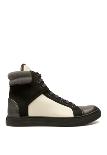 Kenneth Cole New York black and white DOUBLE HEADER - High Top Sneaker KE615SH31ADSMY_1