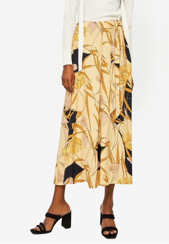 Mango yellow Floral Palazzo Trousers A0D2AAABE9CC93GS_1