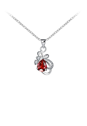 Glamorousky red Elegant Fashion Bow-knot and Water Drop Shape Pendant Necklace with Red Cubic Zircon F87D4ACA25C6BCGS_1