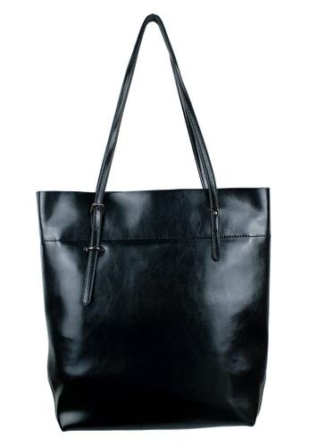 BELLE LIZ black Leather Simple Tall Tote Bag Shoulder Handbag Black A030BACE5A2476GS_1