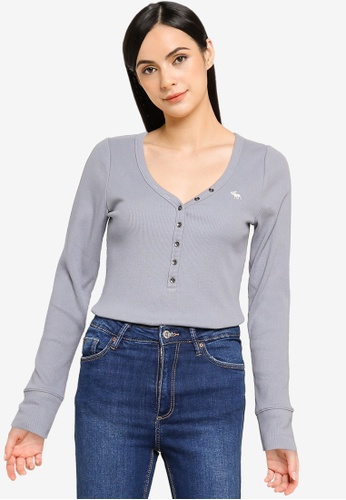 Abercrombie & Fitch blue Long Sleeves Henley Top 9C8A3AA5799004GS_1