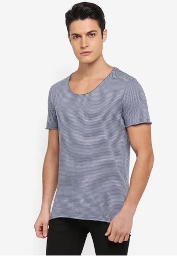 Selected Homme 藍色 短袖條紋T恤 27364AAE5FC226GS_1