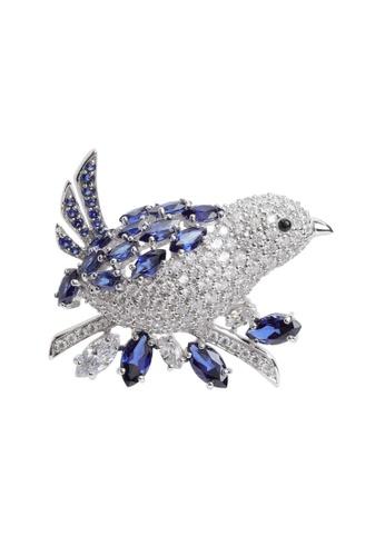 Arte Madrid blue and silver Arte Madrid Tropical Dream Blue Jay Brooch 1E89DACF2F4617GS_1