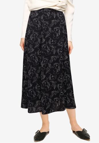 LOWRYS FARM black Print Skirt 93C34AA24A1B50GS_1