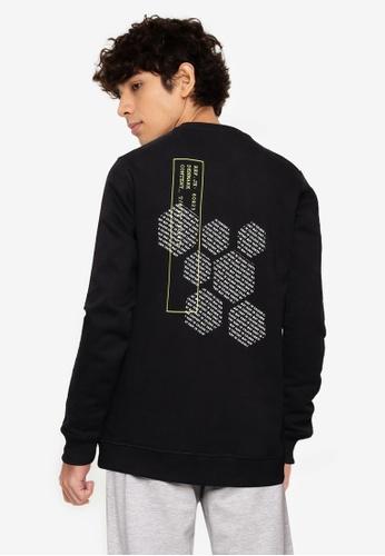 !Solid black Back Print Sweatshirt 637D3AAD3F73EAGS_1