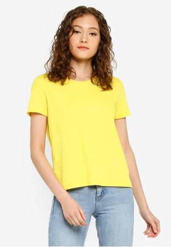 Pieces 黃色 羅紋T恤 2D794AA5D6B014GS_1