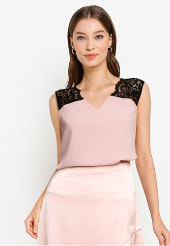 ZALORA OCCASION pink Lace Panel V-neck Top 81610AA01F0486GS_1