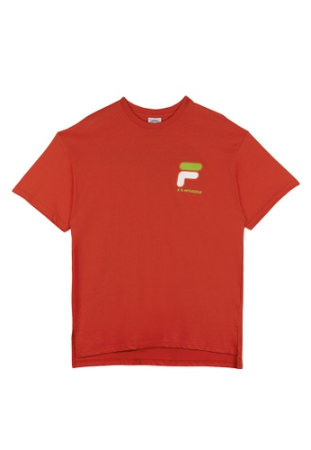 FILA red FILA x D-ANTIDOTE Unisex  Dropped Shoulders Logo T-shirt 87BB3AAB8863BAGS_1