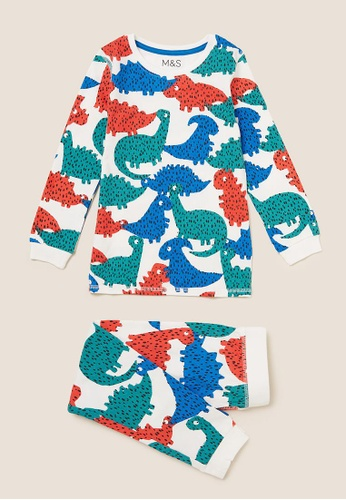 MARKS & SPENCER multi M&S Cotton Dinosaur Print Pyjama Set (1-7 Yrs) 10171KA1D10126GS_1
