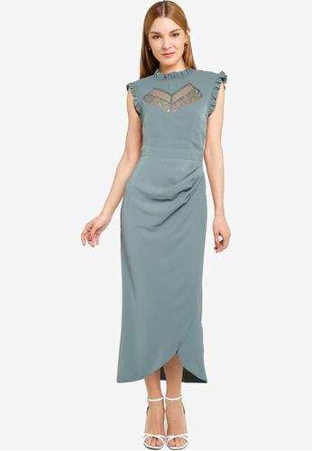Little Mistress green Pink Green Midaxi Dress B1B15AAB4AD5D8GS_1