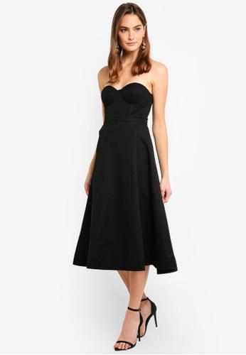 1c3974c5310 Elle Zeitoune black Bustier Pleated A Line Midi Dress CD389AA98359C8GS 1