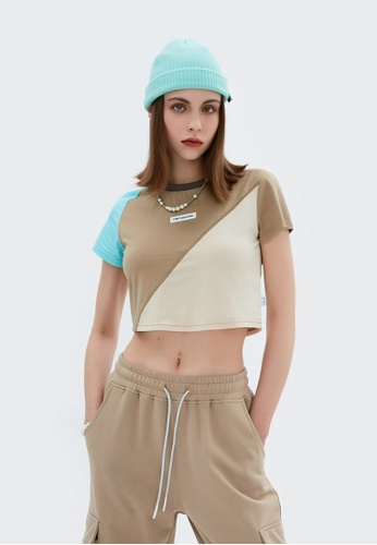 Twenty Eight Shoes Cropped Contrast Stitched T-shirt 6303GS21 340D0AA302876DGS_1