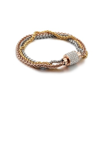 Glamorousky white Fashion Personality Plated Rose Gold and Gold Three-color Multi-layer 316L Stainless Steel Bracelet with Cubic Zirconia DB255AC4285091GS_1