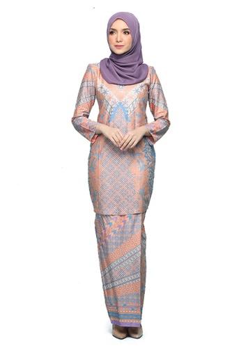 Kurung Ratna from Seri Maharani in Orange and Purple and Multi