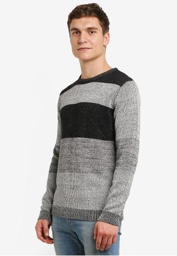 !Solid black and multi Jamee Blocked Knit Sweater SO701AA0RU6RMY_1