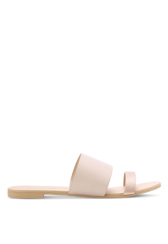 ZALORA gold and beige Two Tone Double Strap Sliders DCC9FSHC433795GS_1