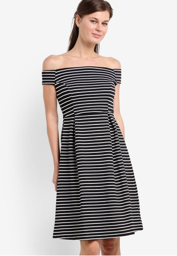 Dorothy Perkins black Monochrome Stripe Fit & Flare Dress DO816AA68HPNMY_1