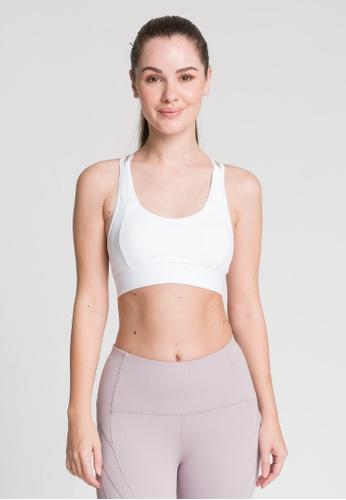 Lotus Activewear white Lotus Activewear Magnolia Mesh Hook Sport Bra 8B156US15EC9E6GS_1