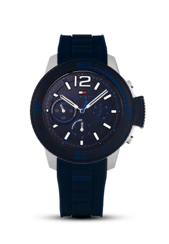 Tommy Hilfiger Watches white and blue and silver Men's Chronograph Watch TO959AC33UHUPH_1