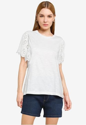 JACQUELINE DE YONG white Brisa Life Short Sleeve Top CFC0DAA6DE6422GS_1