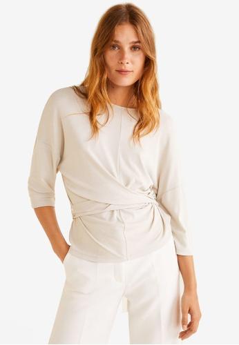 Mango white Knot Detail T-Shirt 0F6CBAA1400331GS_1
