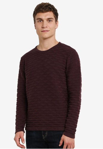 !Solid brown Kameron Geo Knit Sweater SO701AA0S2V5MY_1