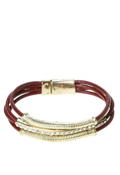 Leather Bracelet with Gold Bar & Rhinstone