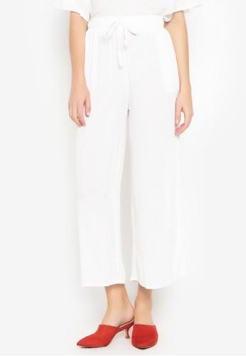 M and M white Plain Long Pants 1F044AA8B6A7E6GS_1