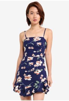 細肩帶花卉荷葉飾短洋裝