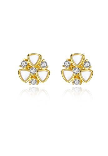SUNRAIS gold Premium color stone golden flower earrings 7123BAC93071ACGS_1