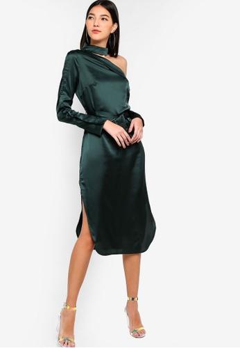 Lavish Alice green Satin Choker Neck Off The Shoulder Midi Shirt Dress C0D89AAE316762GS_1