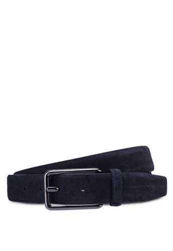 Selected Homme navy Martin Slim Suede Belt 1570EAC2C134B2GS_1