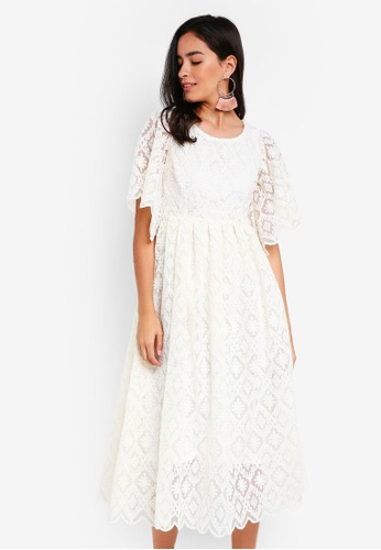 Vero Moda white Mulan Cape Sleeve Midi Dress 0516FAA064DB8AGS_1