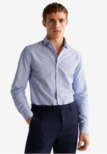 Mango Man 藍色 修身襯衫 A541EAA77D5EB8GS_1
