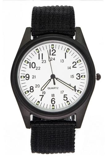 Chronomart black and white Orkina Men's Nylon Fabric Strap Fashion Wrist Watch CH783AC25WISPH_1