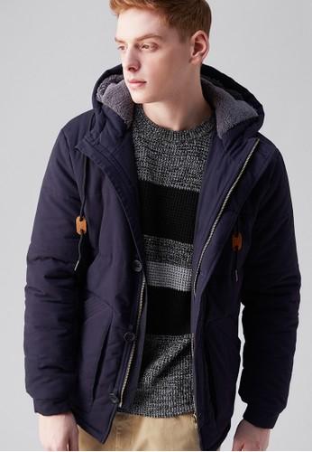 城市探索。美式剪裁。厚磅舖棉連esprit香港分店帽外套-03686-深藍, 服飾, 外套