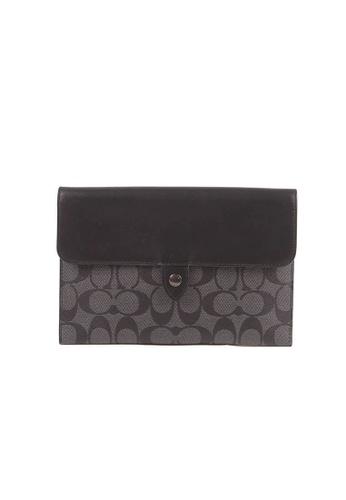 Coach black Coach Signature Mini Tablet C2024 Sleeve Pouch In Black Charcoal FC5FEACE57A396GS_1