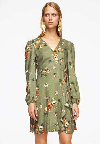 Mango green Floral Wrap Dress MA193AA0RSC5MY_1
