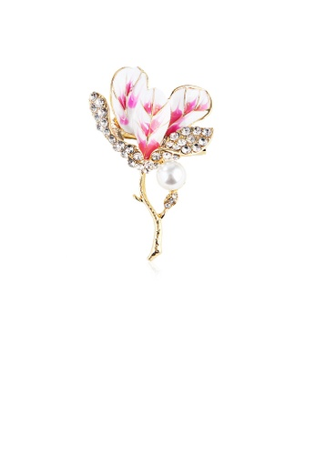 Glamorousky white Fashion and Elegant Plated Gold Pink Hibiscus Imitation Pearl Brooch with Cubic Zirconia 22123ACDBC72F2GS_1