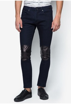 Contrast Knee Panel Skinny Jeans