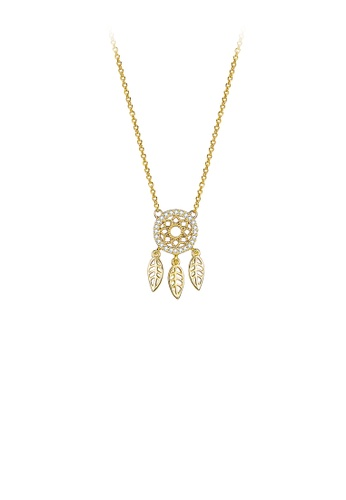 Glamorousky white 925 Sterling Silver Gold Leaf Circle Pendant with Austrian Element Crystal and Necklace 13342AC70053A7GS_1