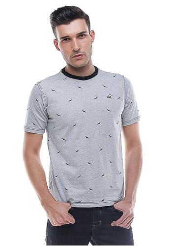 LGS - Slim Fit - Kaos Pria - Motif Burung - Abu