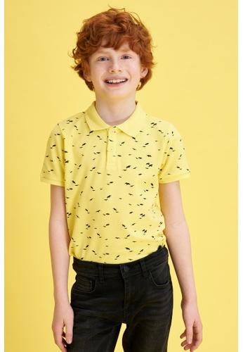 DeFacto yellow Boy Knitted Short Sleeve Polo T-Shirt CD556KA6995D81GS_1