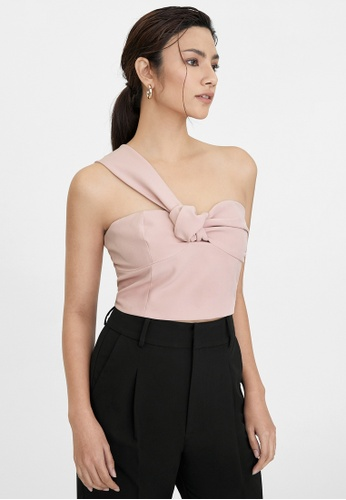 Pomelo pink One Shoulder Knotted Sweetheart Top - Pink 8BAE2AA59FD245GS_1