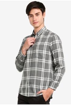 a398aa78e3 ZALORA BASICS grey Basic Checked Flannel Button Down Shirt  EFCD1AA124E26AGS_1