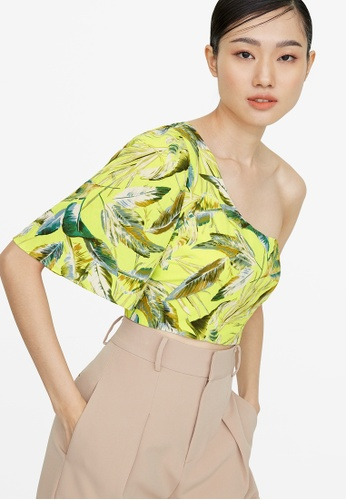 Pomelo yellow Leaf Print One Shoulder Crop Top - Yellow FA62FAA7C6703EGS_1