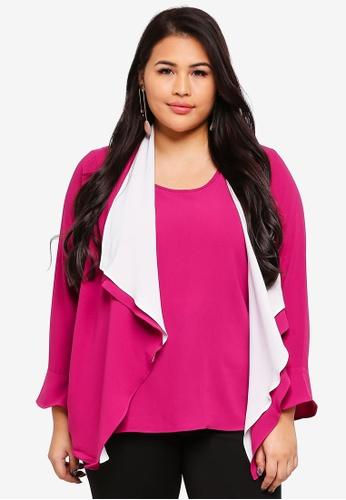 Ex'otico purple Plus Size Long Sleeve Double Layer Blouse 39006AADA9BB8DGS_1