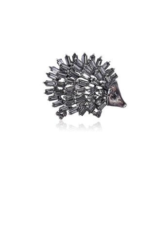 Glamorousky black Fashion Cute Black Hedgehog Brooch with Cubic Zirconia A5195ACC597C12GS_1